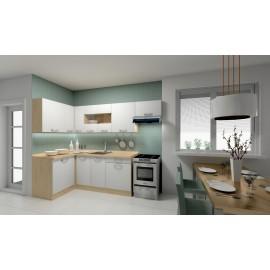 kuchyňa SMILE 120x260 rohová A Dub arlington   Biela arctic