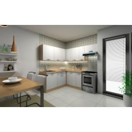 kuchyňa SMILE 180x210 rohová A Dub arlington   Biela arctic